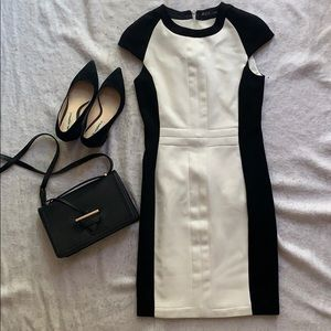 Zara colorblock Black and white sheath dress XS